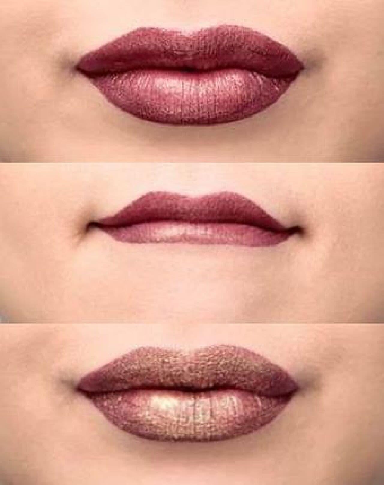 ニックス プロフェッショナル メイクアップ「グリッター ゴールズ リキッド リップスティック」を塗った唇