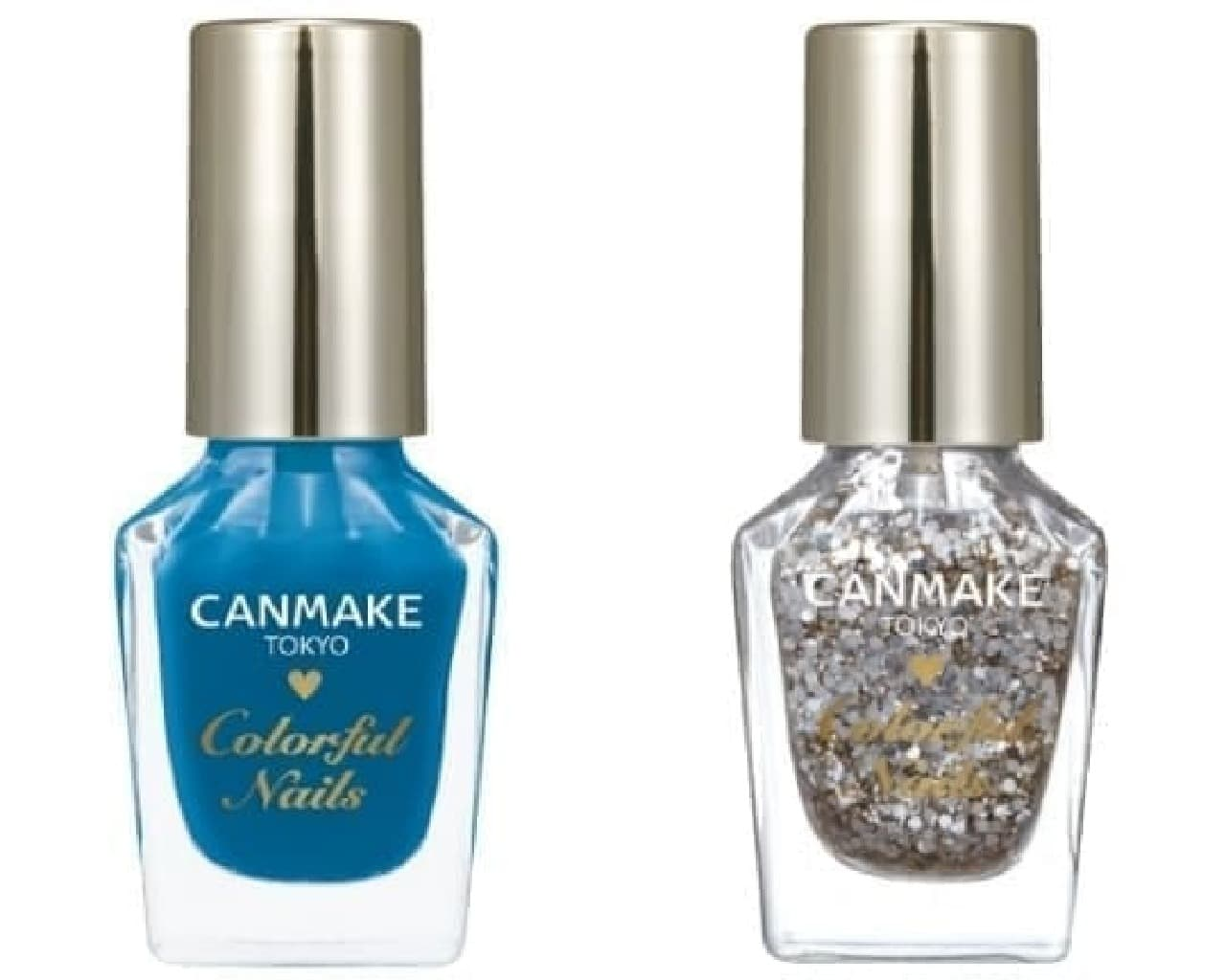 キャンメイク「カラフルネイルズ」限定色「N37 ターコイズブルー」と「N38 ジュエリードロップ」